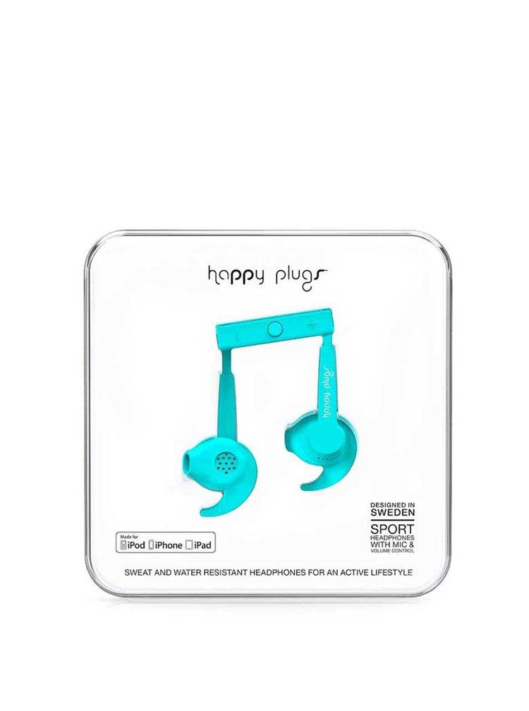 Světle modrá sportovní sluchátka Happy Plugs
