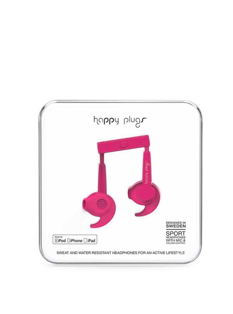 Růžová sportovní sluchátka Happy Plugs