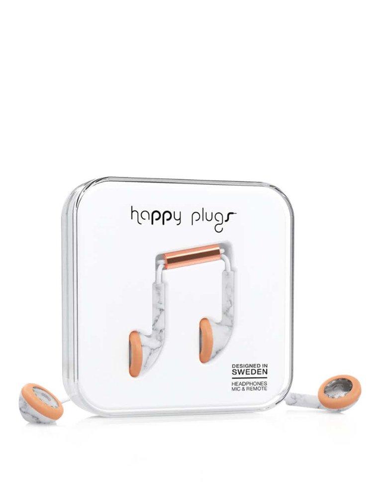 Earbud sluchátka s mramorovým vzorem Happy Plugs Carrara Marble