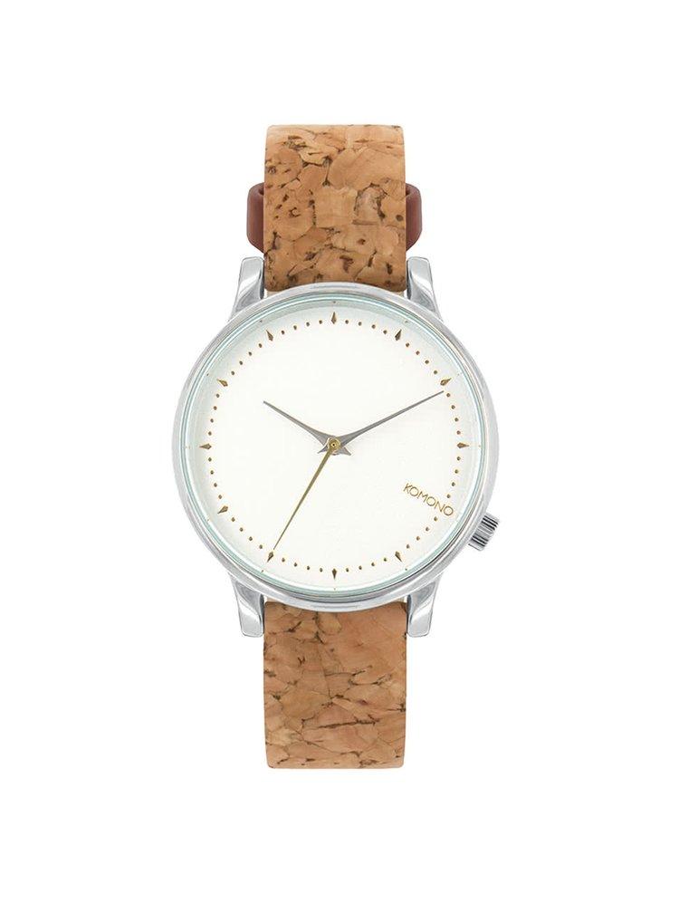 Dámské hodinky ve stříbrné barvě s hnědým korkovým páskem Komono Estelle