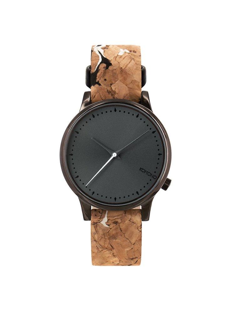 Černé dámské hodinky s hnědým korkovým páskem Komono Estelle