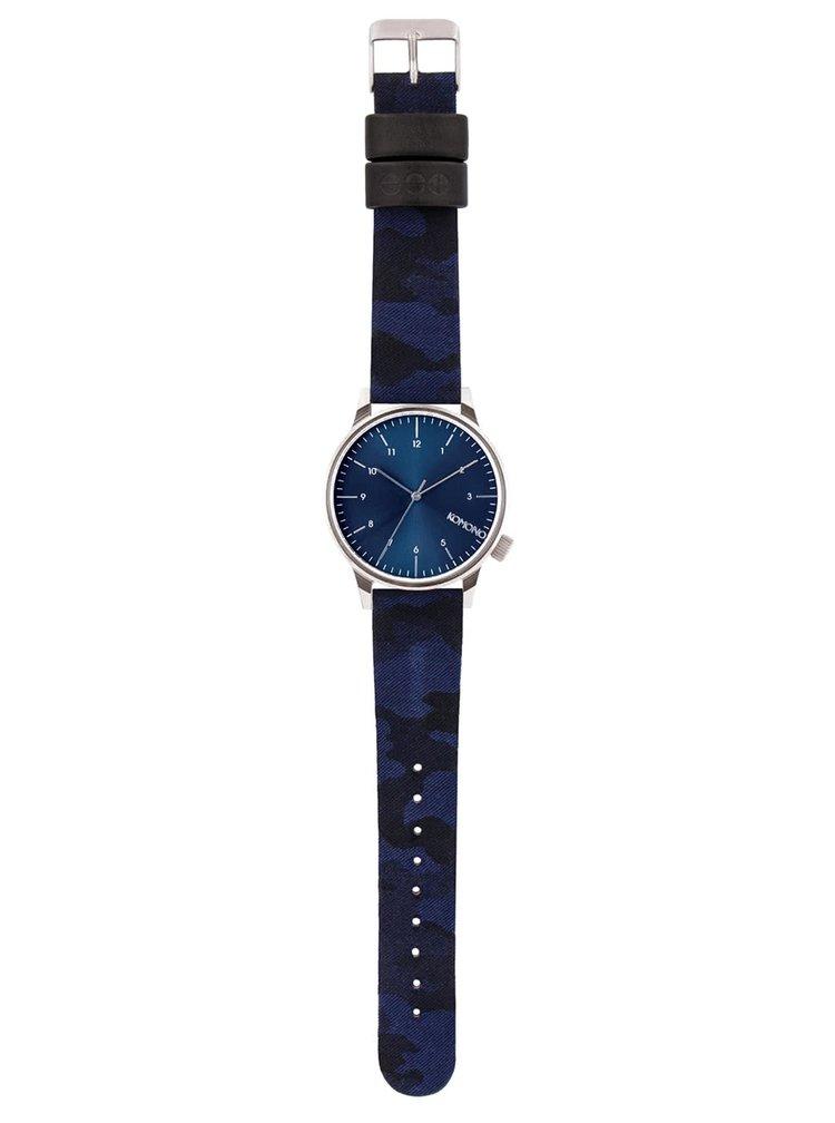 Unisex hodinky ve stříbrné barvě s modrým páskem Komono Winston Print