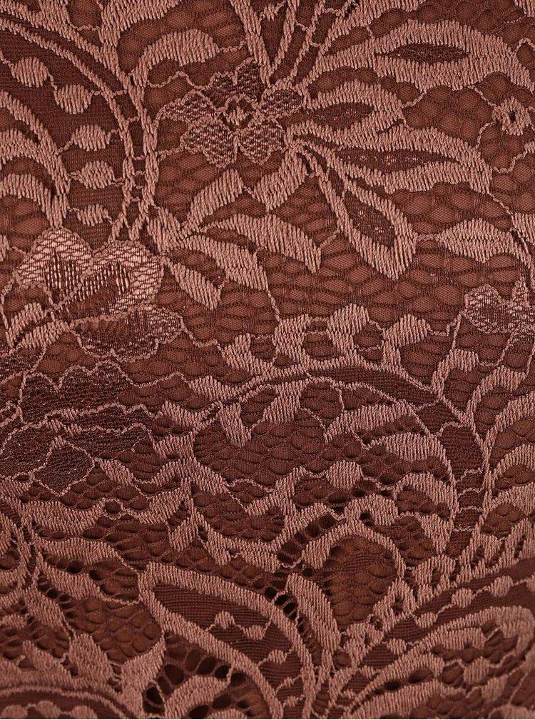 Hnedé čipkované šaty ONLY Sierra