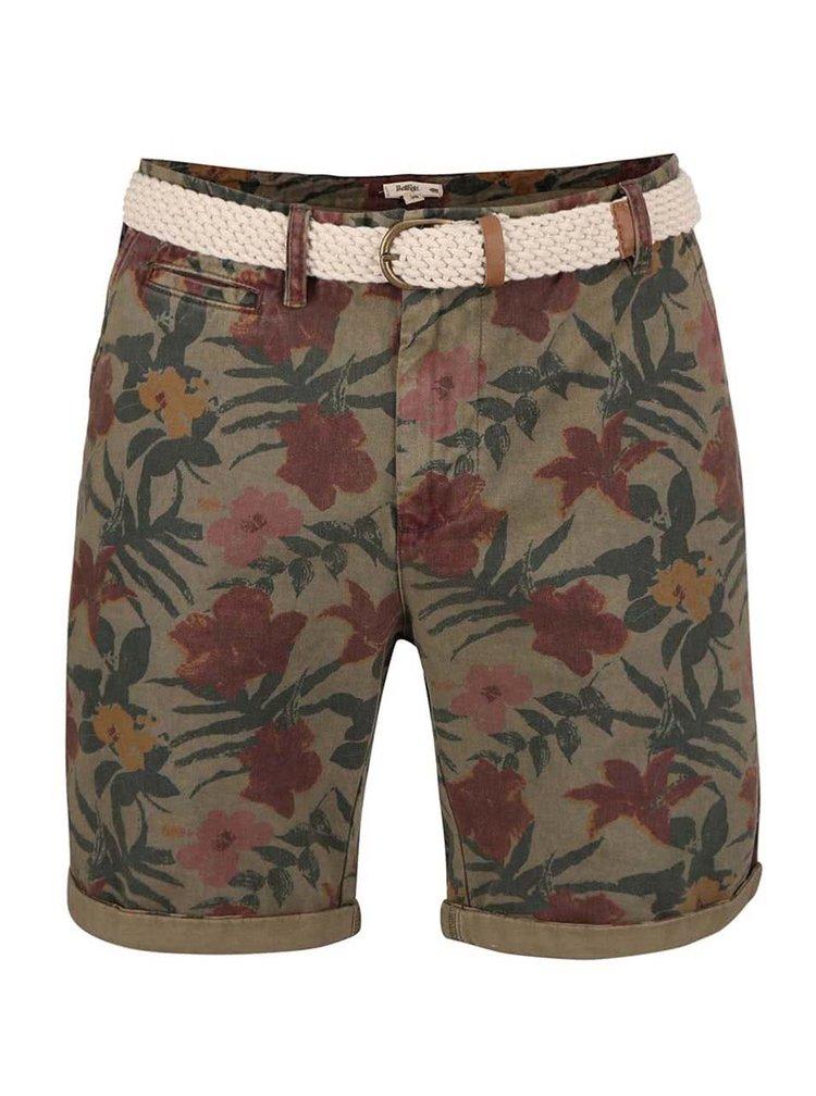 Pantaloni scurți Bellfield Bulmer kaki cu imprimeu tropical