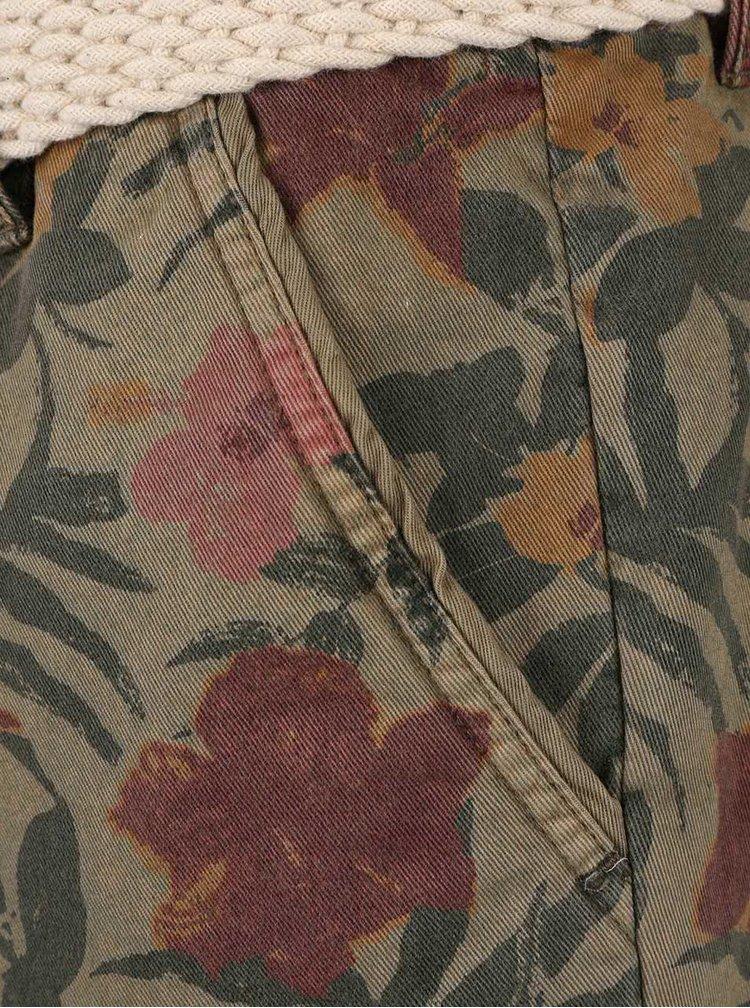 Khaki kraťasy s tropickým potiskem a páskem Bellfield Bulmer