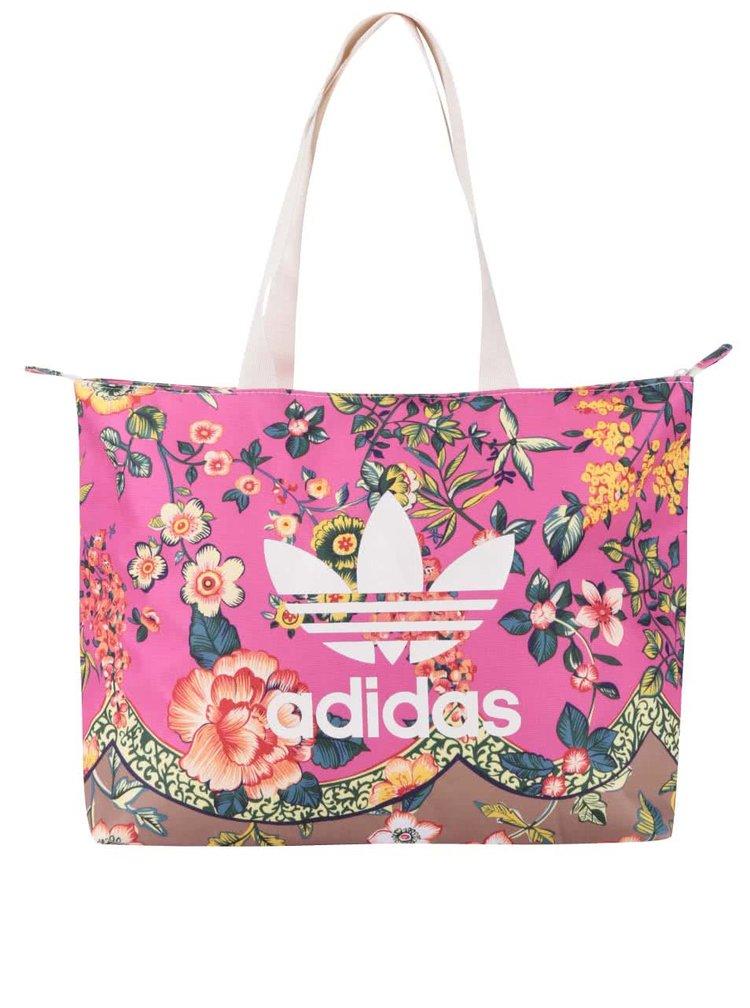 Růžový květovaný shopper adidas Originals Jardineto