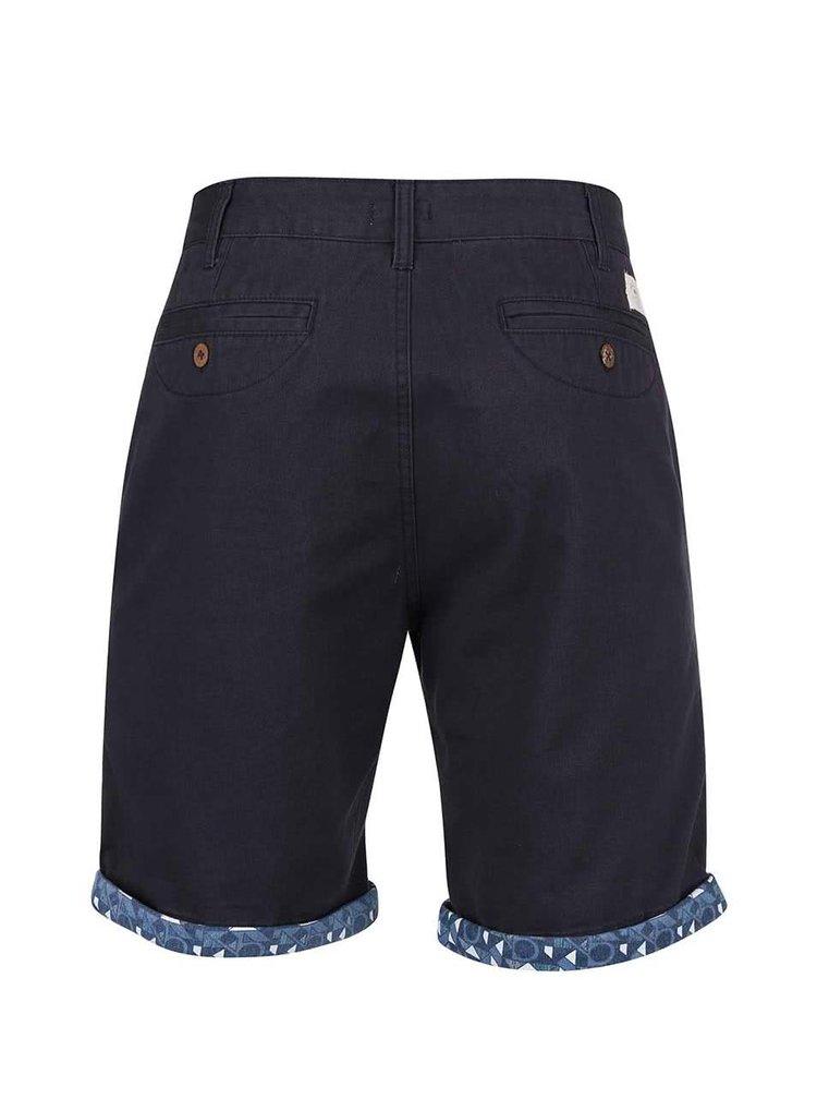 Pantaloni scurți Bellfield Felsham albastru închis cu tiv colorat