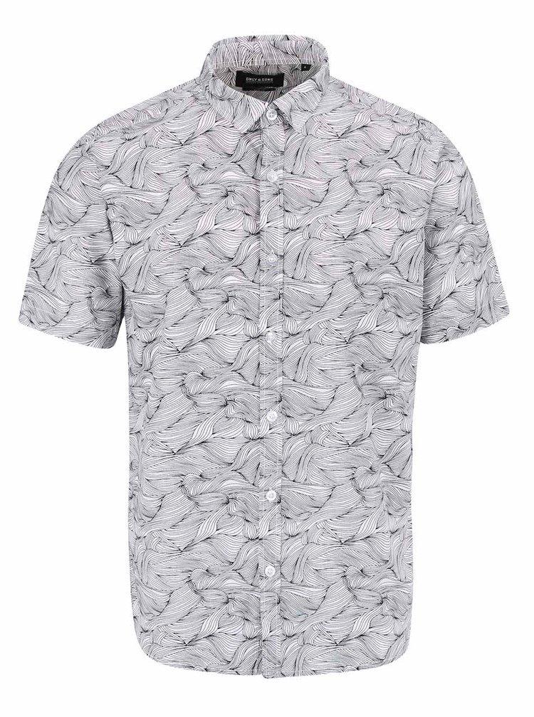 Biela vzorovaná košeľa ONLY & SONS Hagen