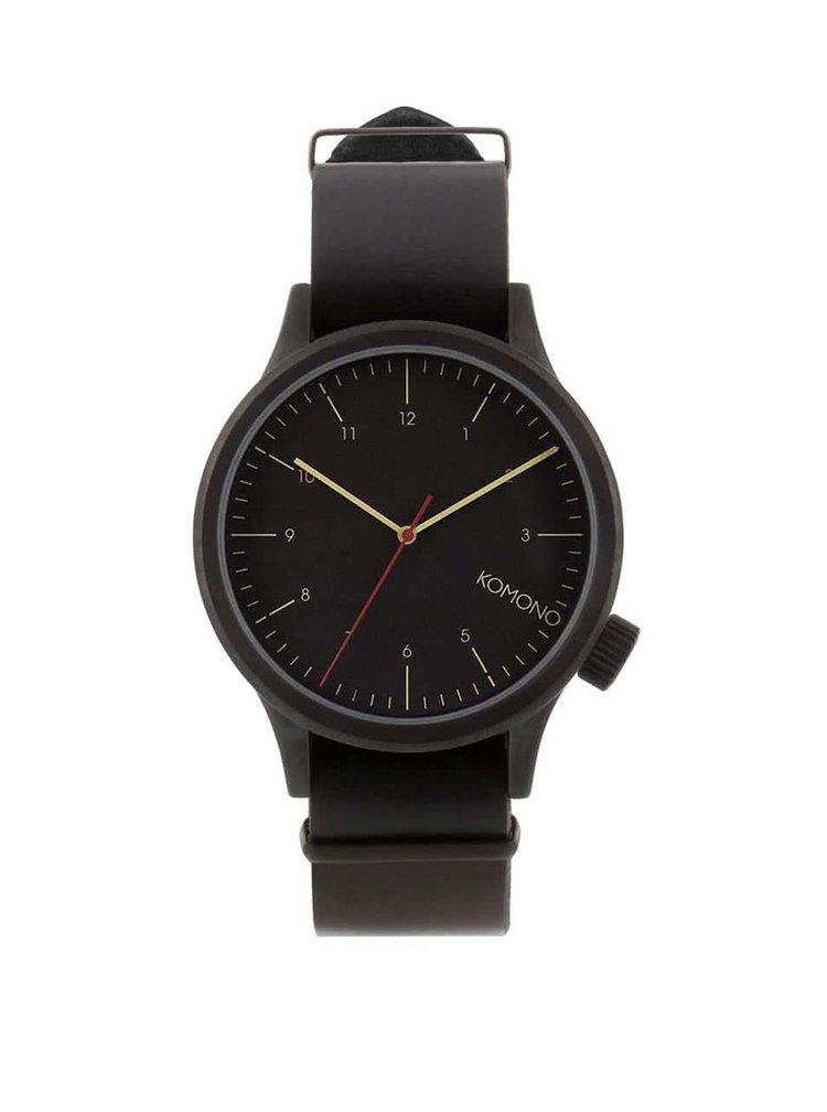 Černé pánské kožené hodinky Komono Magnus