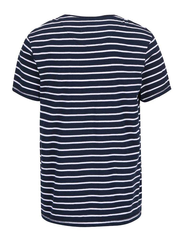 Tricou Bellfield Bayswater albastru cu dungi albe