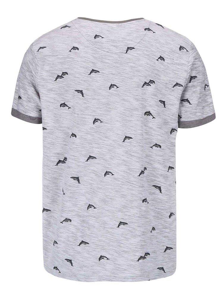 Šedé triko s potiskem delfínů Bellfield Stonewell