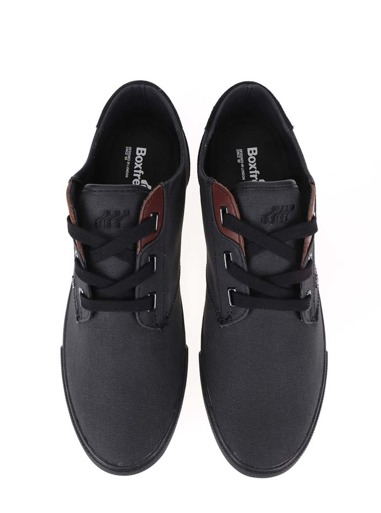 Černé plátěné tenisky s koženými detaily Boxfresh Stern