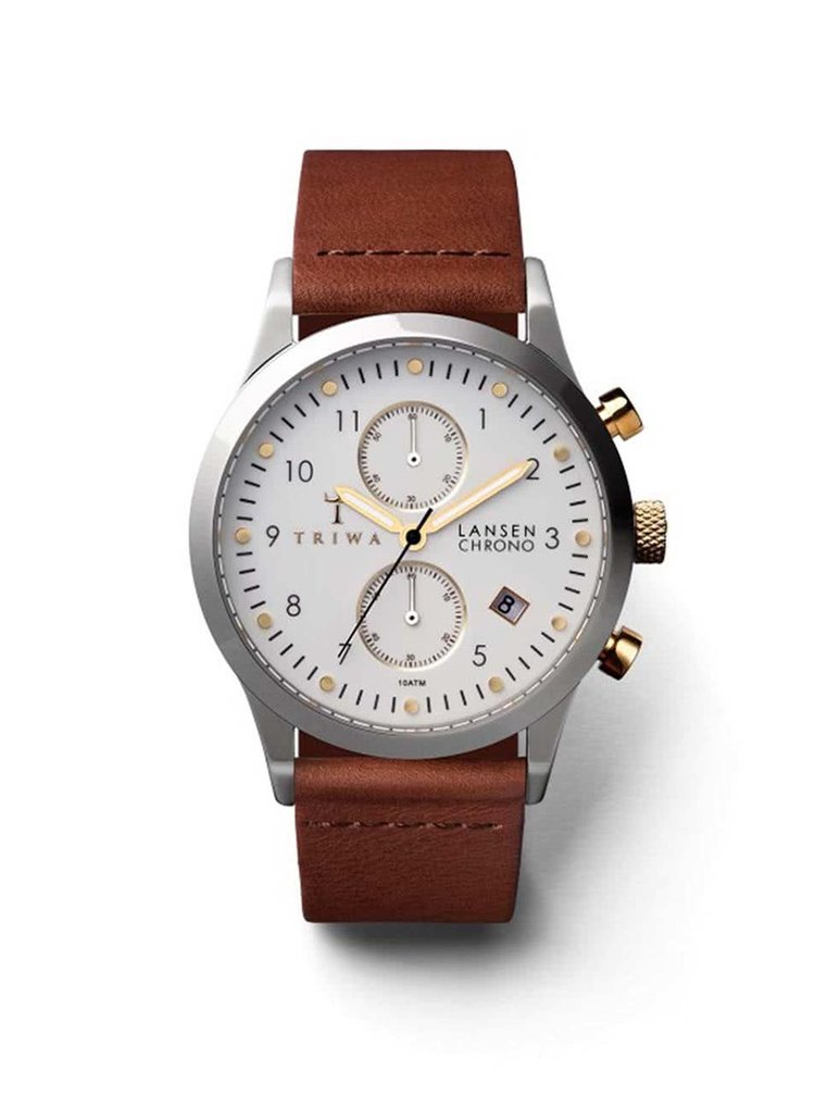Hnědé unisex kožené hodinky TRIWA Lansen Chrono