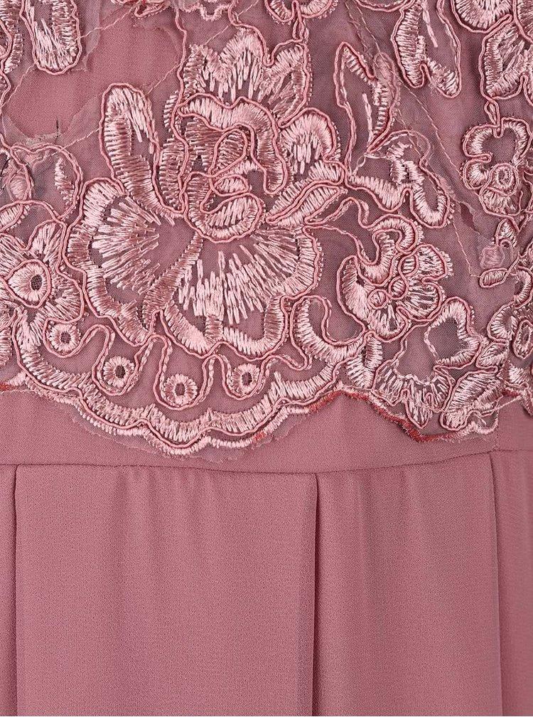Růžovofialové maxišaty s vyšívaným topem AX Paris
