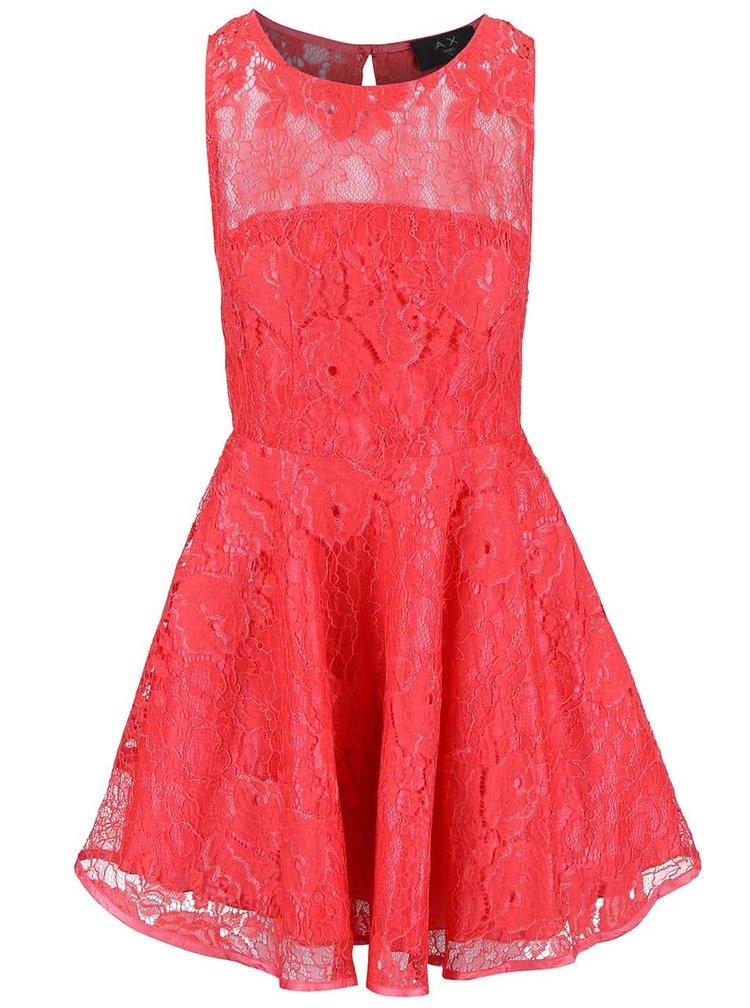Koralové čipkované šaty AX Paris