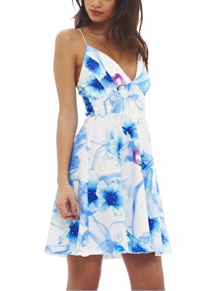 Biele šaty na ramienka s modrými kvetmi AX Paris