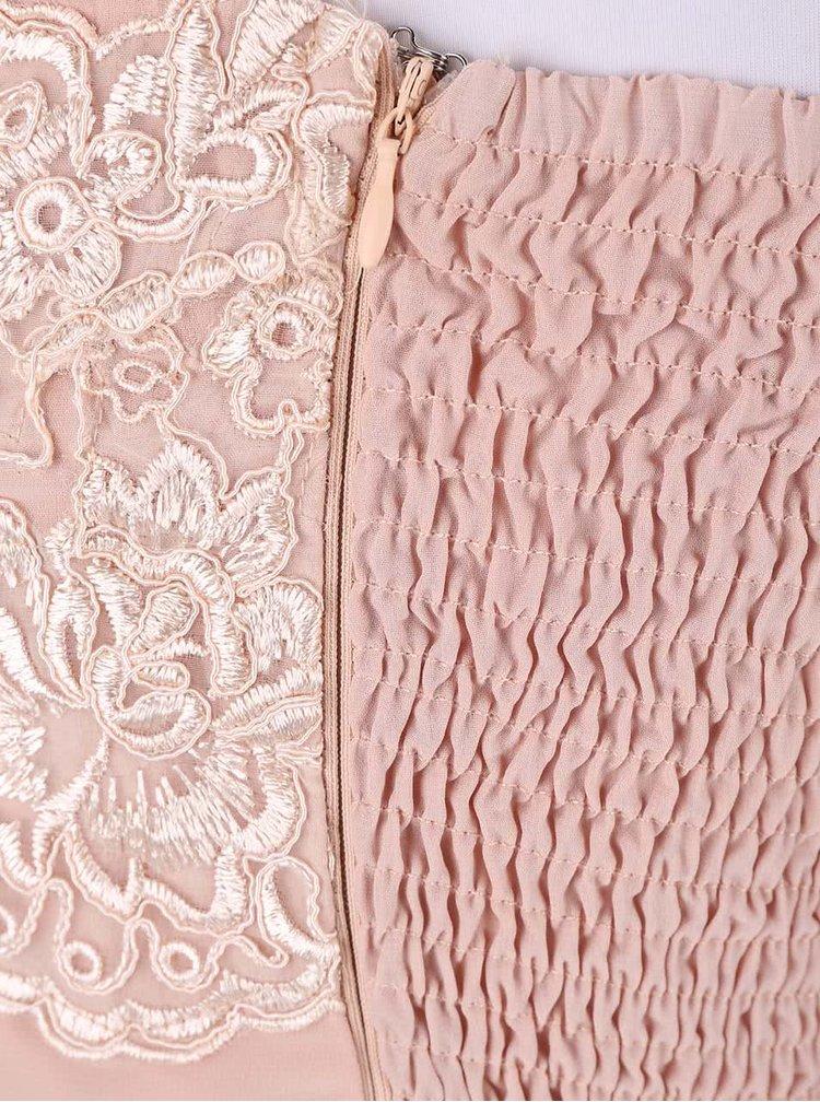 Pudrově růžové maxišaty s vyšívaným topem AX Paris