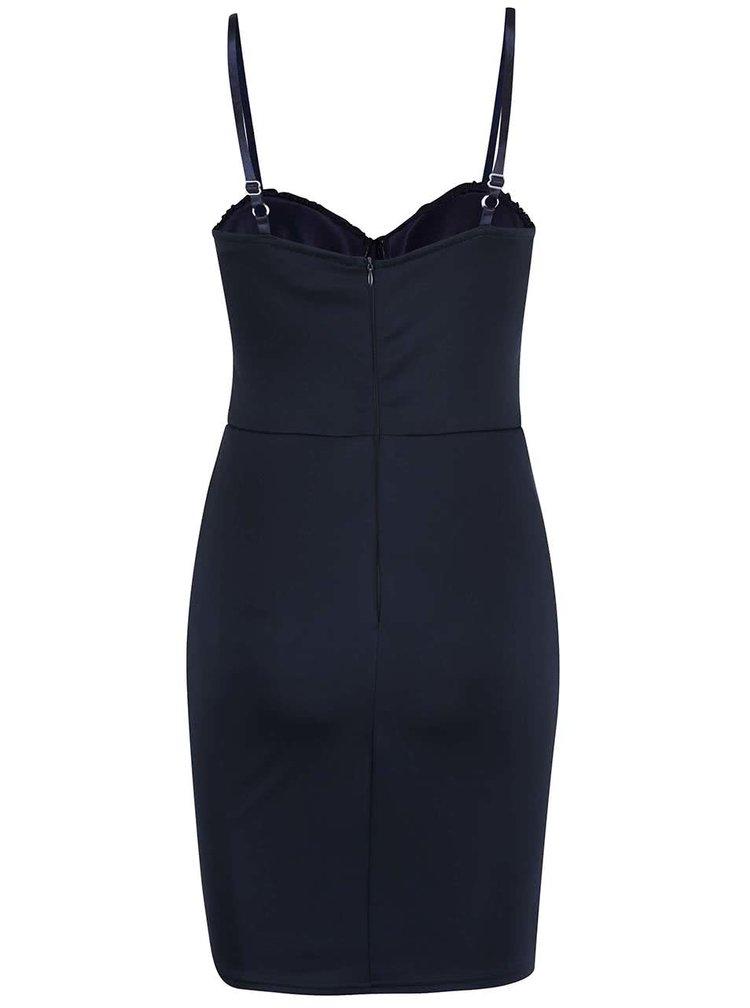 Tmavě modré šaty na ramínka se zdobeným topem AX Paris