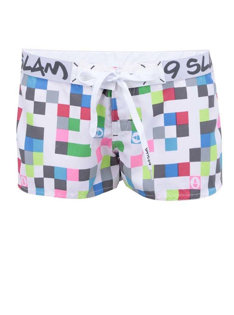 Bílé dámské kraťasy s barevnými kostičkami 69SLAM Pixel square
