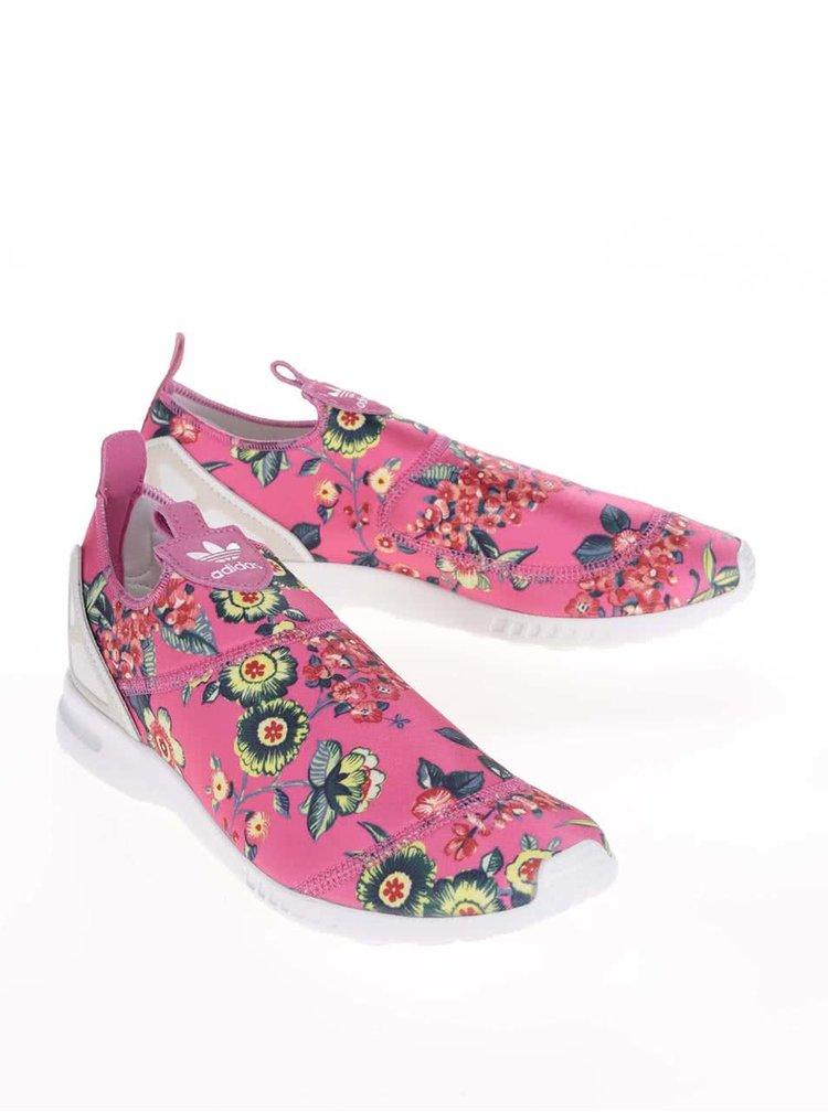 Ružové dámske kvetinové slip on tenisky adidas Originals ZX Flux ADV