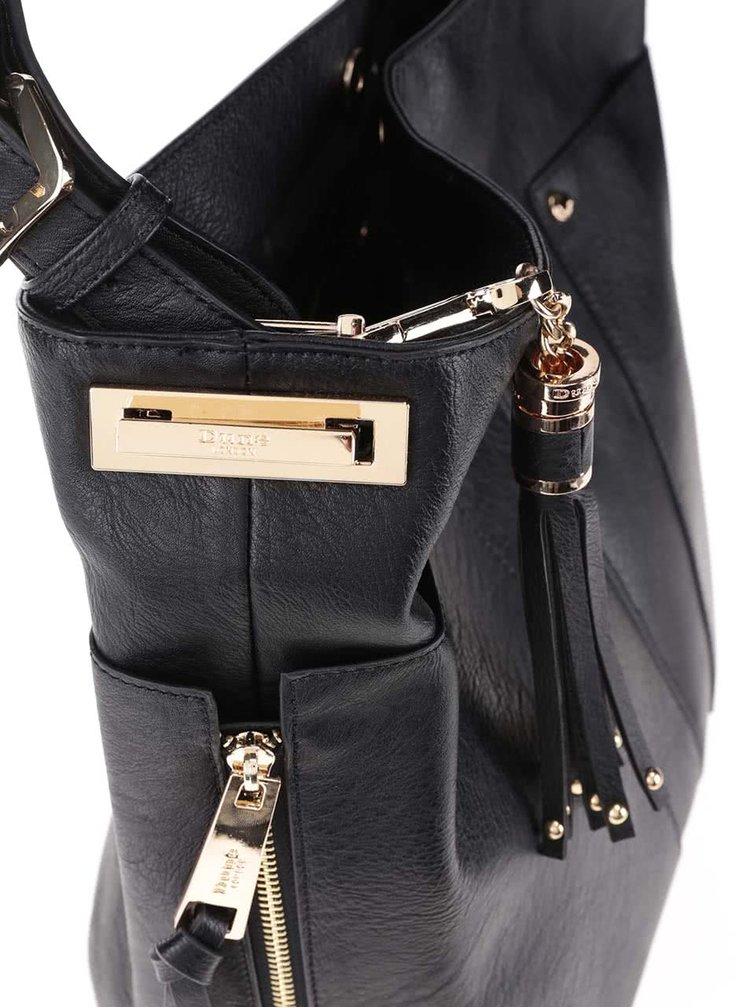 Černá kabelka do ruky s detaily ve zlaté barvě Dune London Dacey