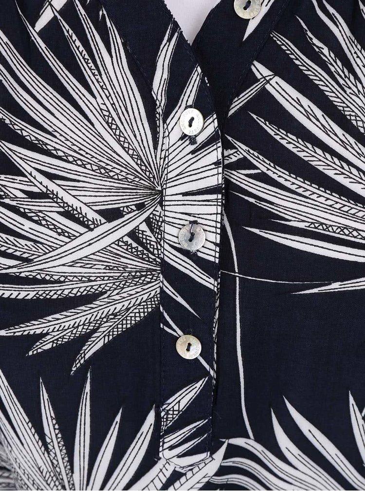 Tmavě modré šaty s bílým vzorem listů Zabaione Sabrina