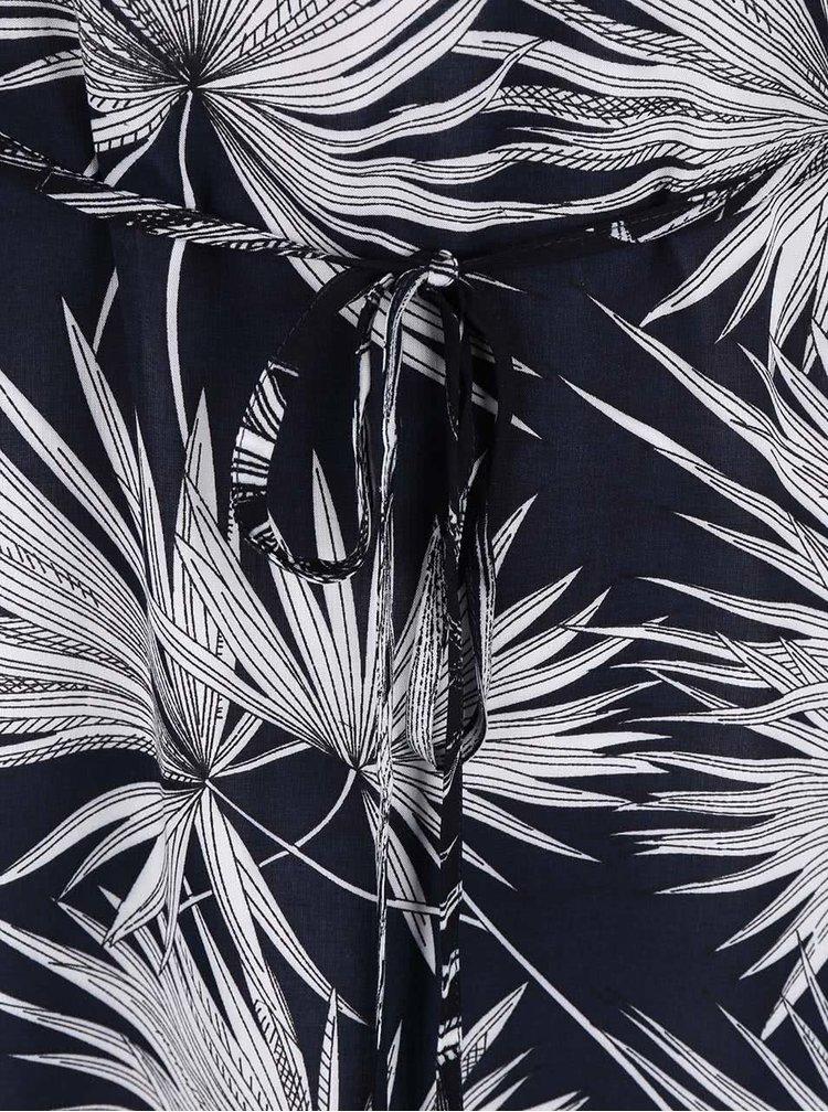 Tmavomodré šaty s bielym vzorom listov Zabaione Sabrina