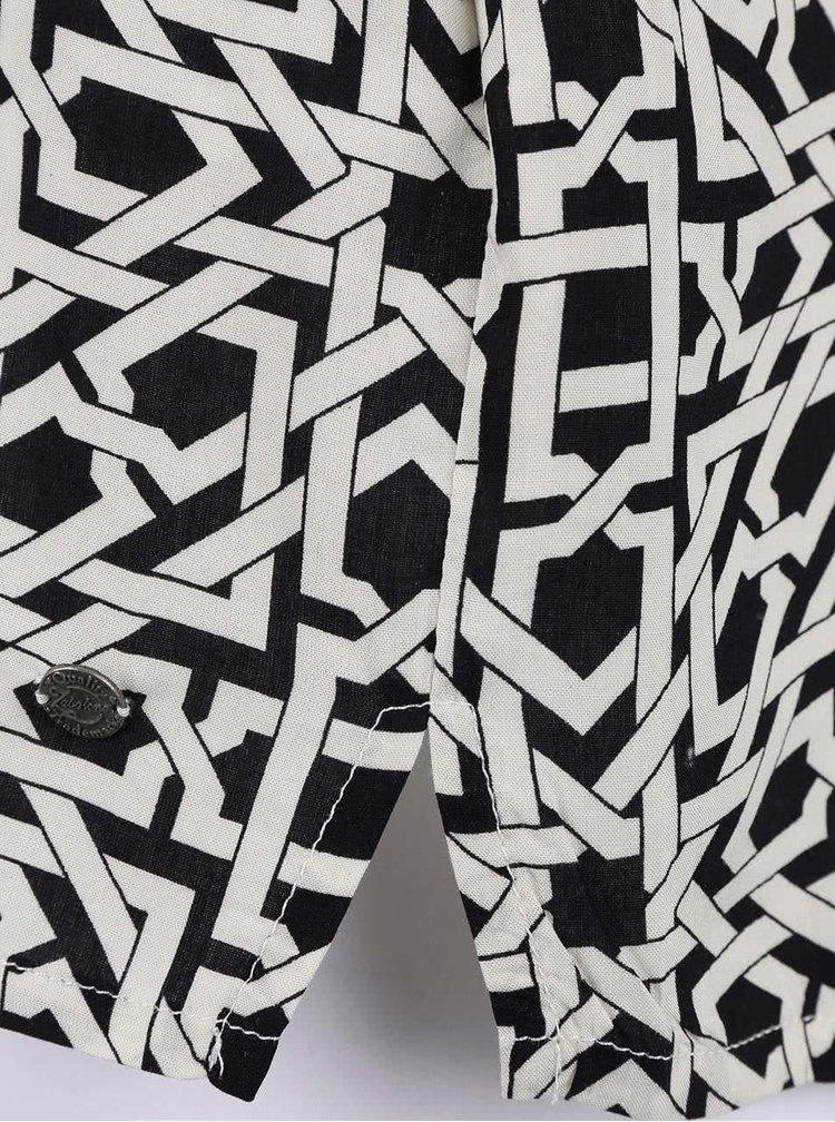 Krémovo-čierne šaty s geometrickým vzorom Zabaione