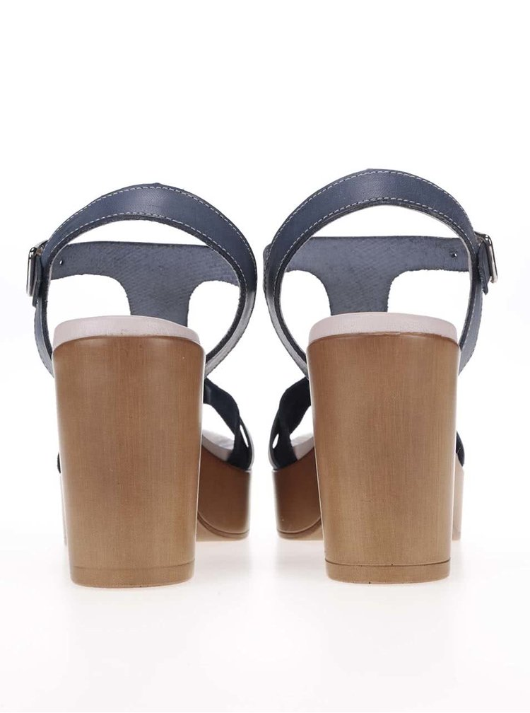 Petrolejové kožené sandálky na podpätku OJJU