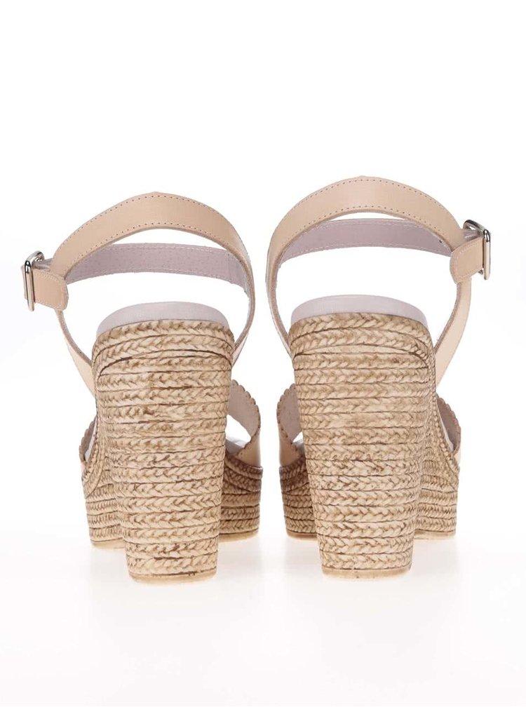 Béžové kožené boty na platformě OJJU
