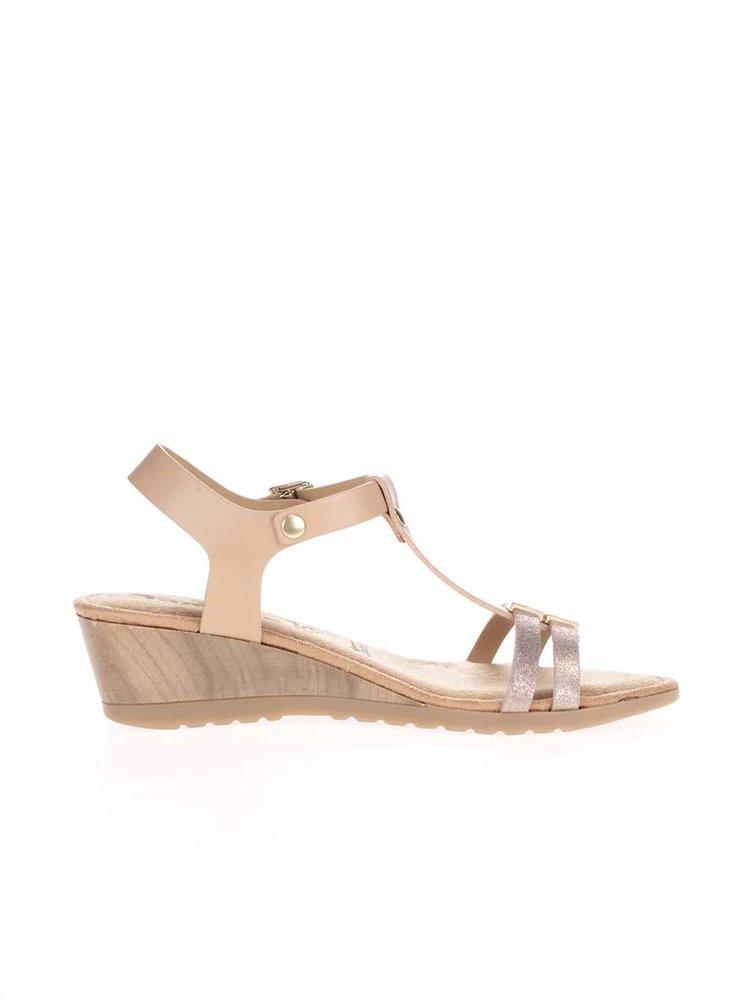 Tělové kožené sandálky na klínku Tamaris