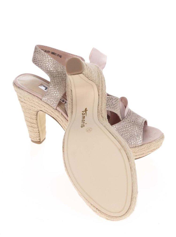 Ružové lesklé topánky na podpätku s mašľou Tamaris