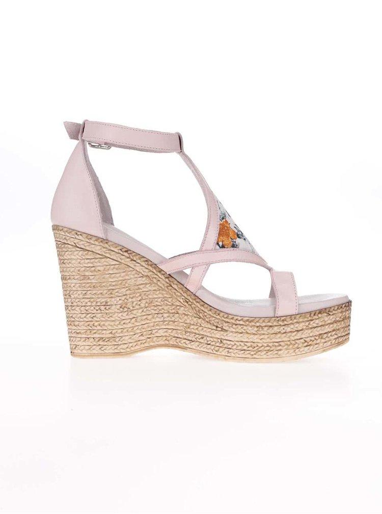 Světle růžové kožené sandály na platformě OJJU