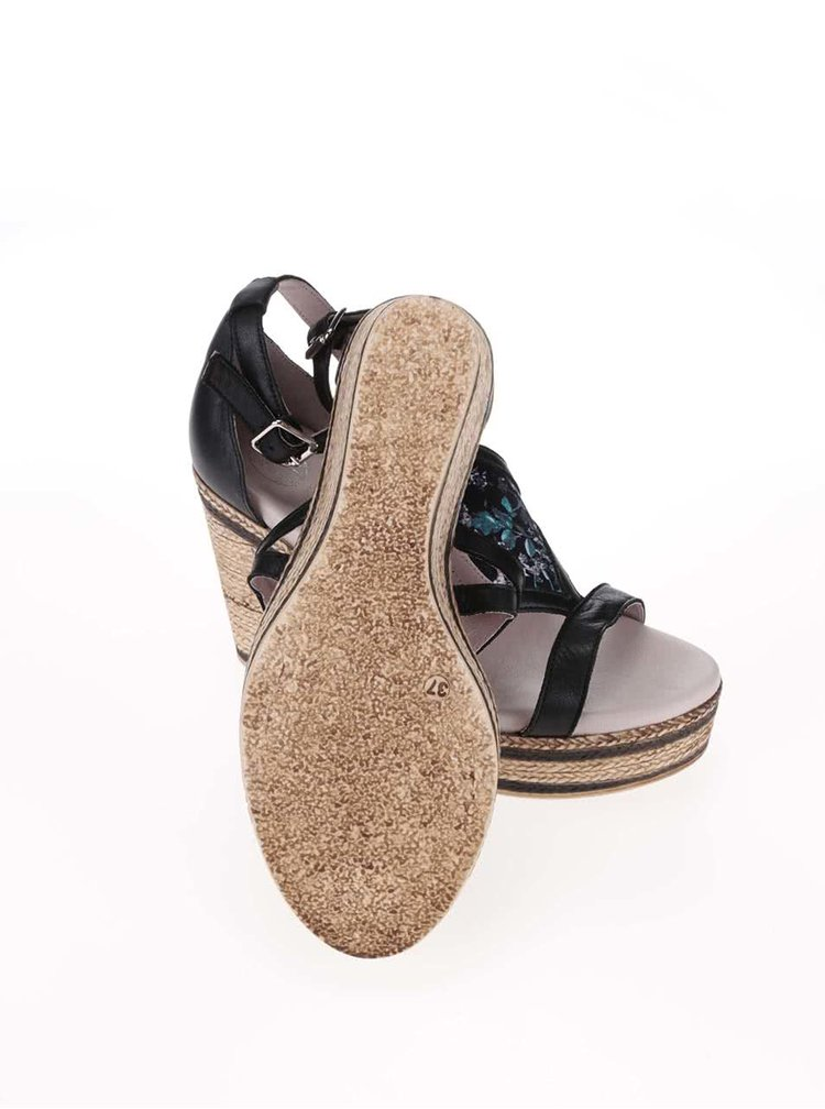 Černé kožené sandály na platformě OJJU