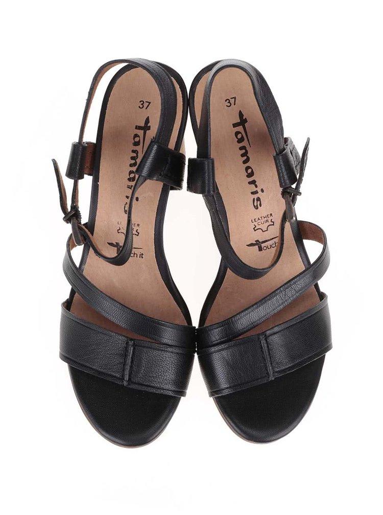 Sandale Tamaris negre din piele