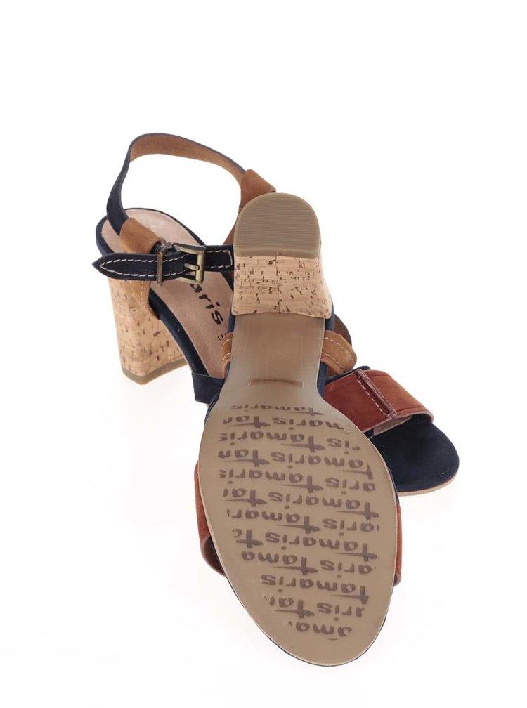 Hnědo-modré kožené boty na podpatku Tamaris