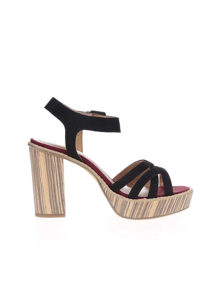 Hnedo-čierne sandále na podpätku Tamaris