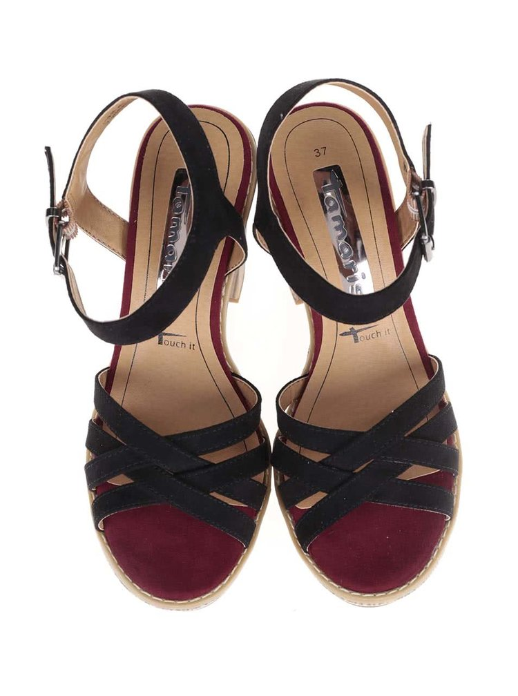 Hnědo-černé sandály na podpatku Tamaris