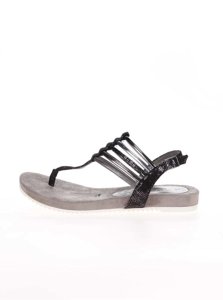 Šedo-černé sandálky se stříbrnými pásky Tamaris