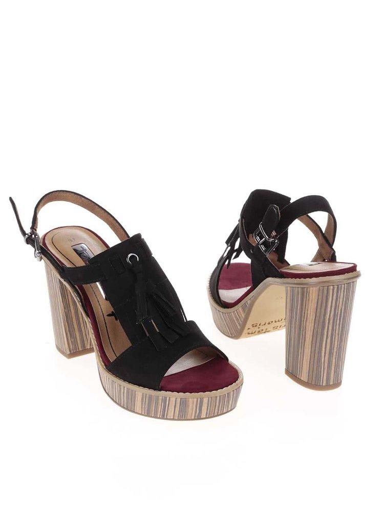 Hnedo-čierne topánky na podpätku a platforme Tamaris