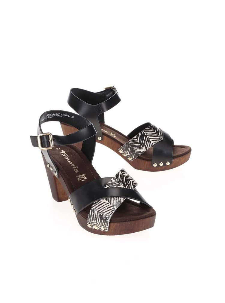 Černo-hnědé kožené sandály na podpatku Tamaris