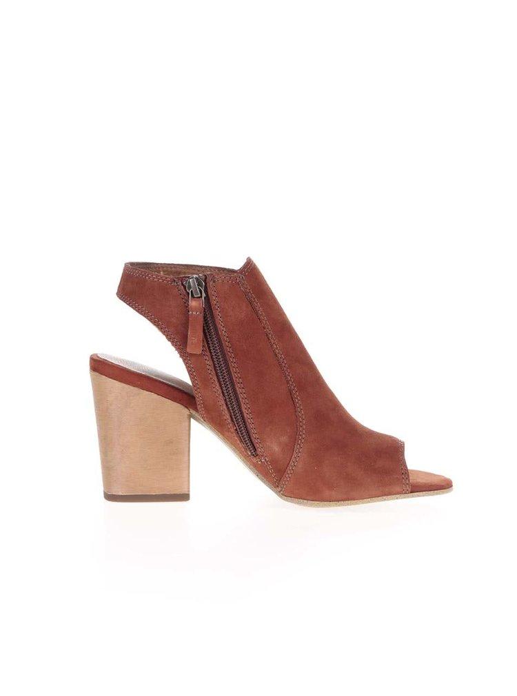 Cihlové kožené boty na podpatku Tamaris