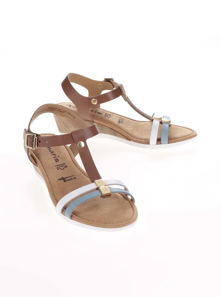 Hnědé kožené sandálky na klínku s barevnými pásky Tamaris