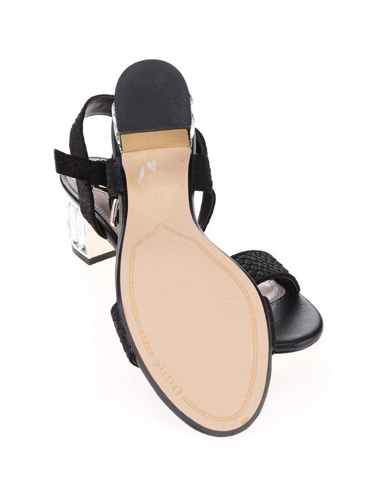 Čierne kožené sandálky na podpätku Dune London Marcia