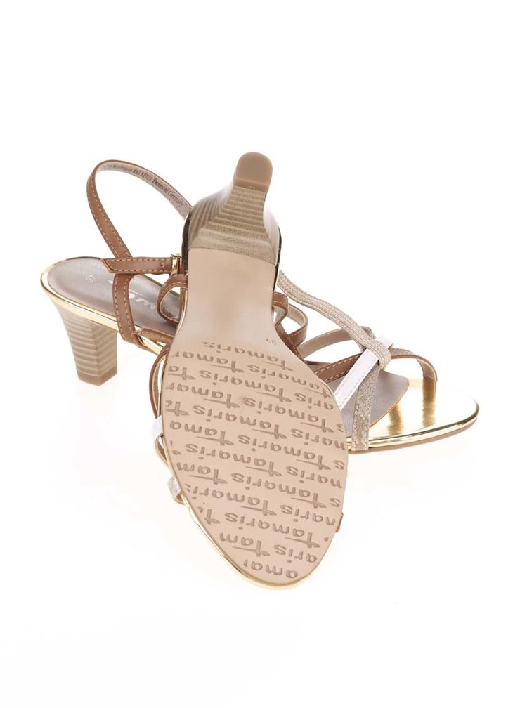 Sandale Tamaris bej/maro cu detalii aurii
