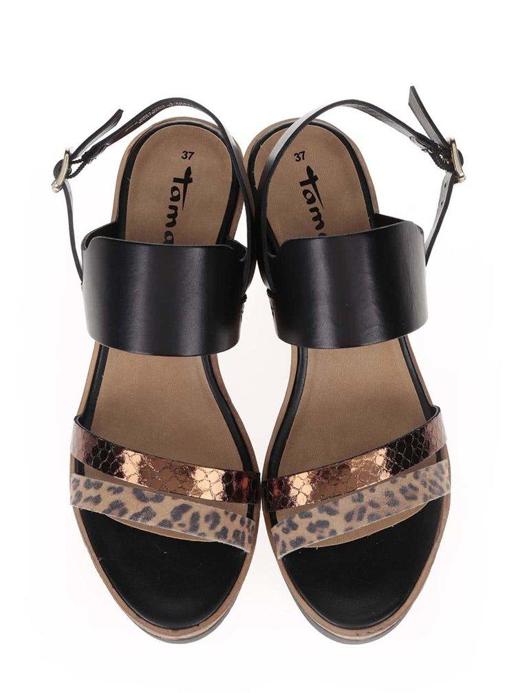 Sandale cu platformă Tamaris maro/negre din piele
