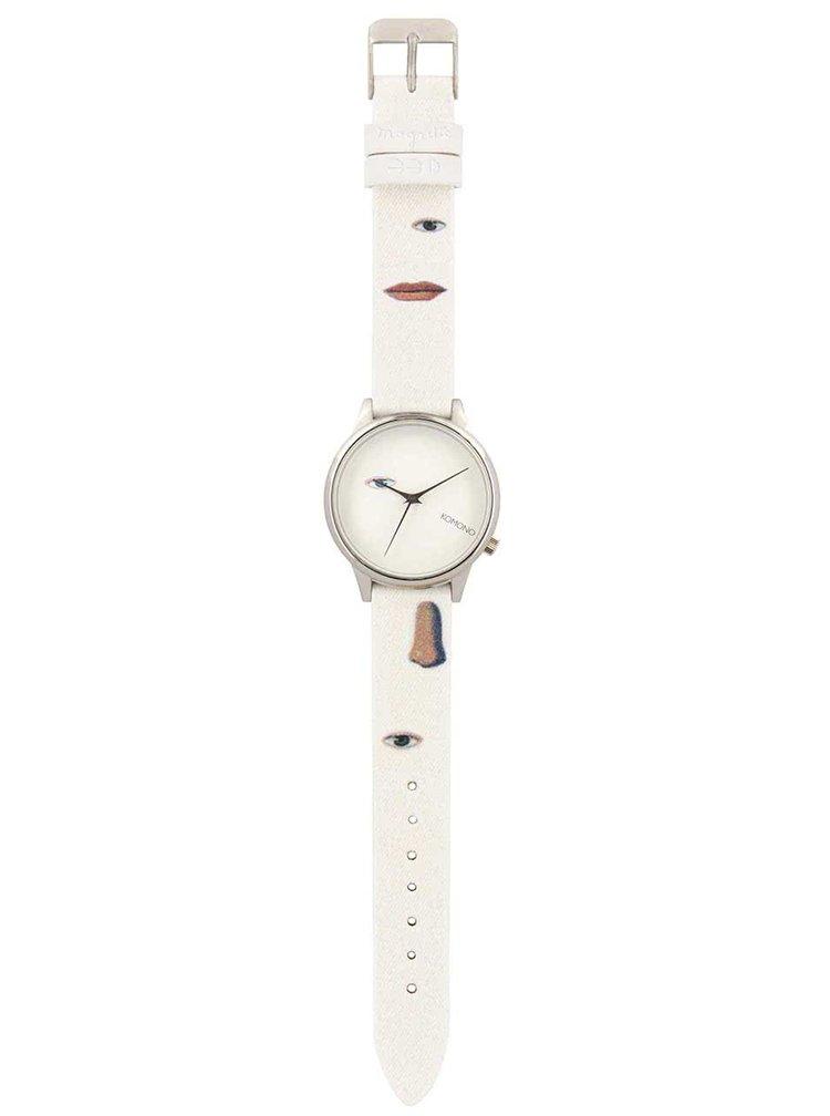 Dámské hodinky ve stříbrné barvě s textilním páskem Komono Estelle by René Magritte