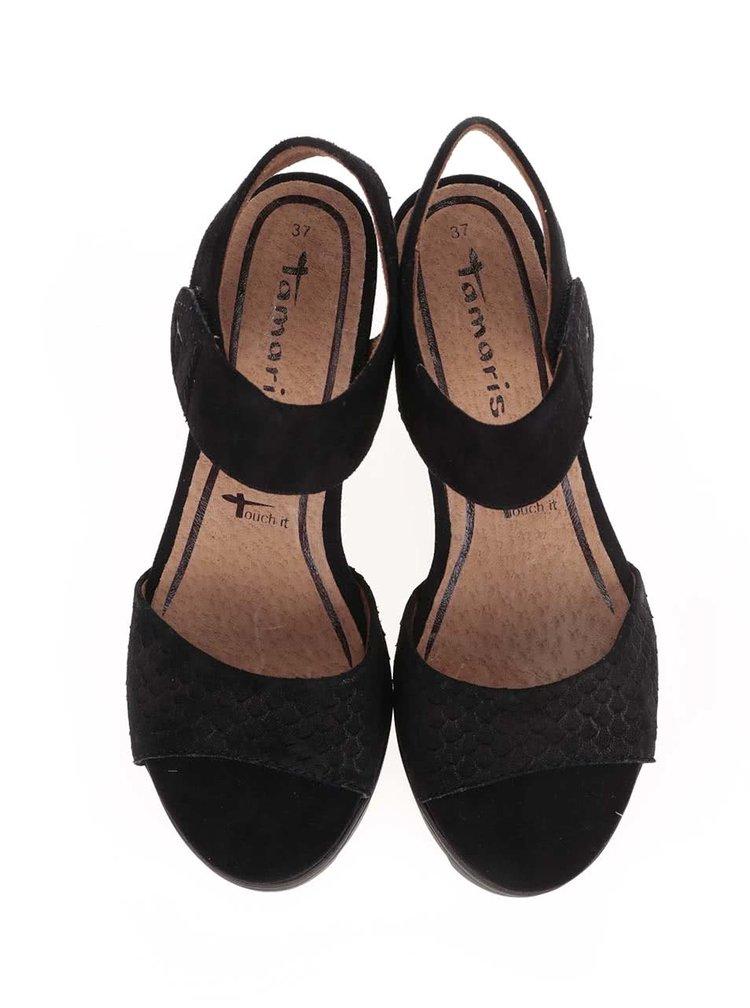 Sandale cu platformă Tamaris negre din piele