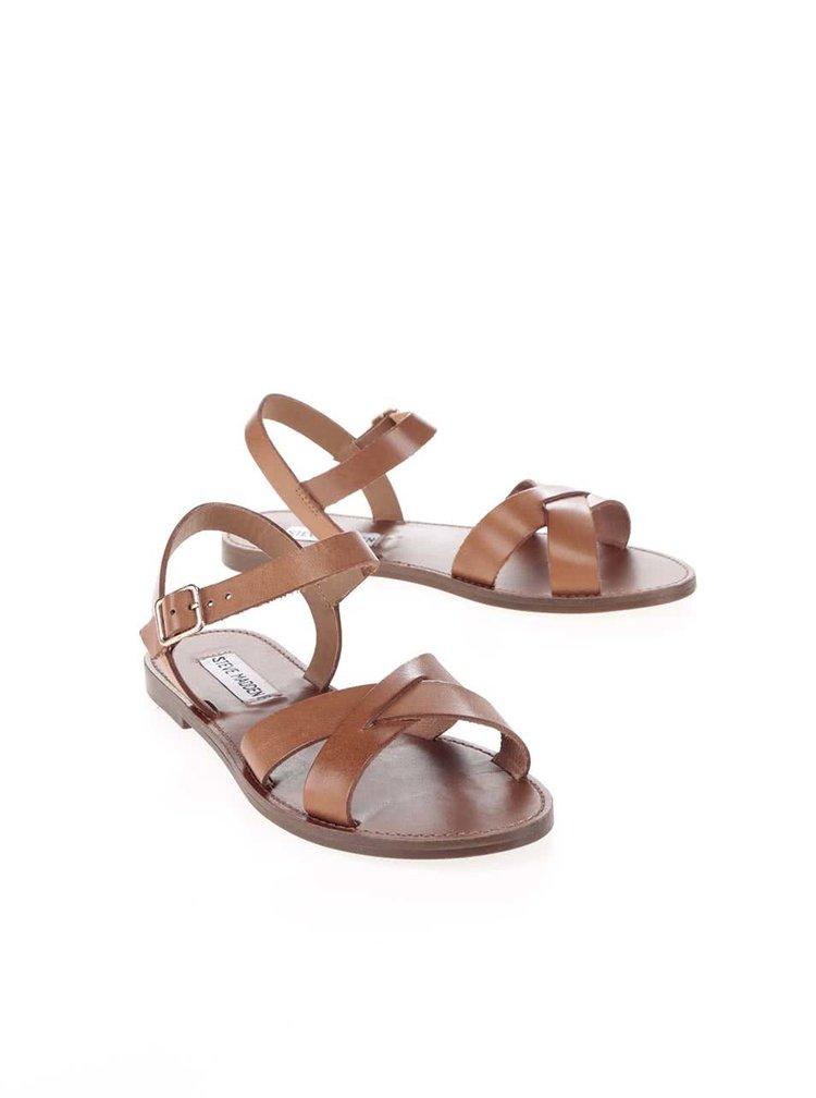 Hnědé dámské kožené sandály Steve Madden Dublin