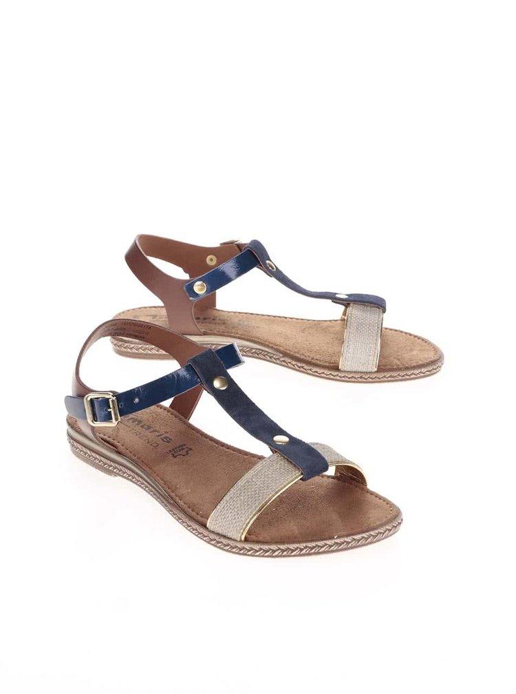 Modré páskové kožené sandálky Tamaris